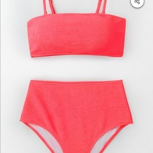 Cupshe Neon Pink High Waisted Bikini Set